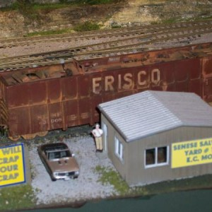 Frisco Gondola 63008 being loaded at Senese Salvage on the KA&O railroad