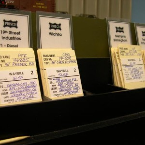 This photo shows the car card box in Rosedale and highlights the moveable track designation cards that I made. I simply developed a form using MS Word