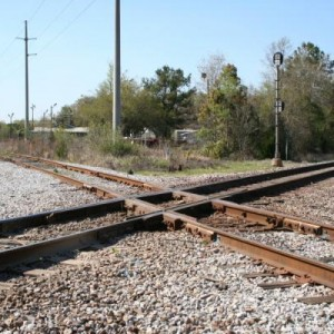 This is the diamond where the line into Mobile crosses what is now the Norfolk Southern line into Mobile. You are looking northwest