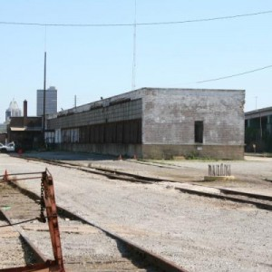 the freight warehouse looking from the RIP track work shed