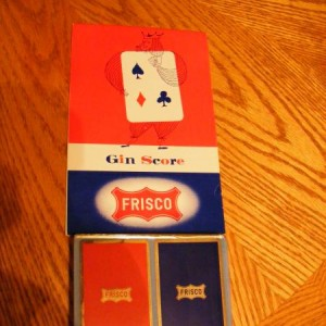 frisco playing cards date 1955 and a unused gin score card