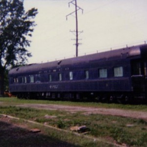 Frisco Business Car #3 at siding ni Belton, MO. 1991 The railrod group in Belton no longer has this car.
