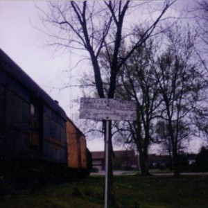 Insufficient Clearance sign along spur which was the former Leaky Roof line in Belton, MO 1992