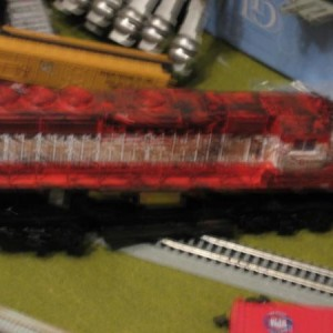 the weathered shell of my GP40-2 sets on top of the frame, awaiting the wires to be arranged so it runs.
