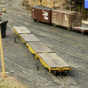 Custom SLSF 42' Flats from the Texas Western Model Railroad Club store.  Weathering by Mike Corley
