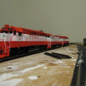 A shot of the new Athearn SD45 in it's consist with an Atlas B30-7 and GP38AC