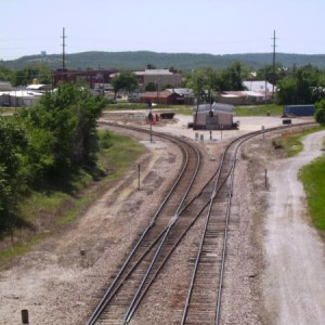 Looking southwest from Line Street overpass at the present Sapulpa office and wye.