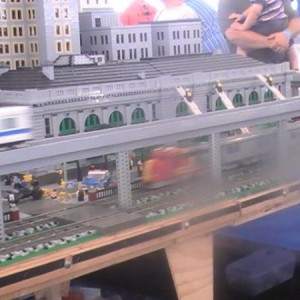 Here we see a Santa Fe Super Cheif on the Lego layout. (This is 1 of many layouts at the Train Fest).