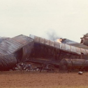 I think the crash took place the day before. Looks like those beer kegs were cooked in jet fuel.