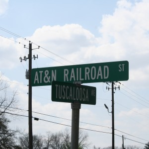 Street sign that marks the crossing in Carrollton, AL