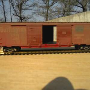 Weathered CB&Q 50 ft double door boxcar