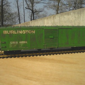 Weathered CB&Q 50 ft boxcar in pre- BN paint scheme