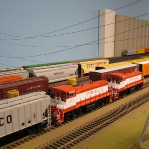 SW view of Rosedale yard with two MP15s doing the heavy lifting.