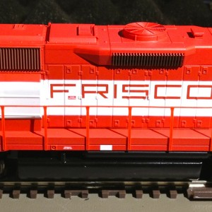 Athearn model #77836, a Frisco GP50 #3100. Purchased at the 2012 Turkey Creek Division Meet. A non-DCC-ready DC model that I chose to install a decode