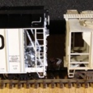 Each of these weathered hoppers is an Atlas Trainman PS-2 Covered Hopper model. I weathered them to simulate cement service. My weathering steps were