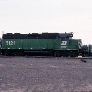 GP38AC BN 2121 ex SLSF 644 - August 1983 - Great Falls, Montana