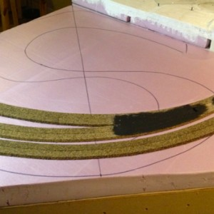 "third section 6 : This corner section transitions the ""level"" track from two to three tracks. The black paint is over some Sculpt-a-Mold filling in a"