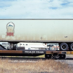 Pig Trailer on flatcar 297496 - October 1983 - Denver, Colorado