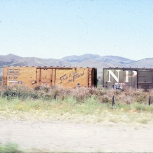 40 foot plugdoor boxcar  6607 - August 1983 - Shelby, Montana