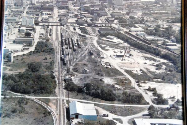 Aerial view of Frisco's South Yard in Springfield looking east.  Notice that the depot and freight house are still standing.  With some imagination yo