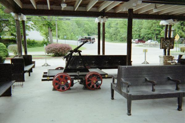 An two-man railcart on display at The ES&NA RR Depot.