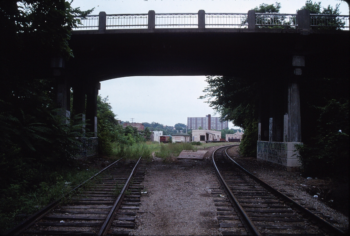 Fayetteville, Arkansas - July 1989 - Looking South towards depot and freight house