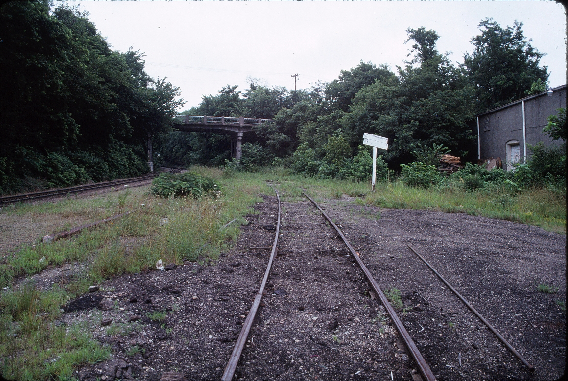 Fayetteville, Arkansas - July 1989 - North of freight house looking North at West Lafayette Street bridge