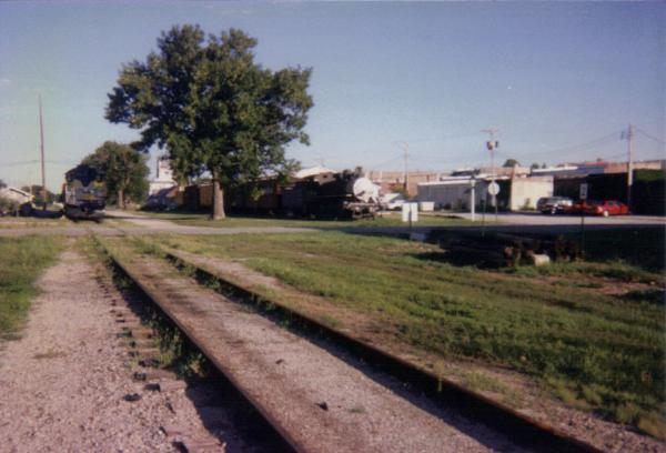 Former Frisco High Line in Belton, MO. The siding on the right is the former Leaky Roof main line. taken about 1995