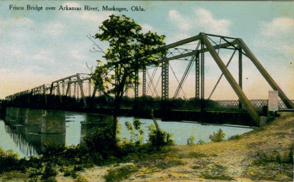 Frisco bridge postcard - Muskogee, Oklahoma