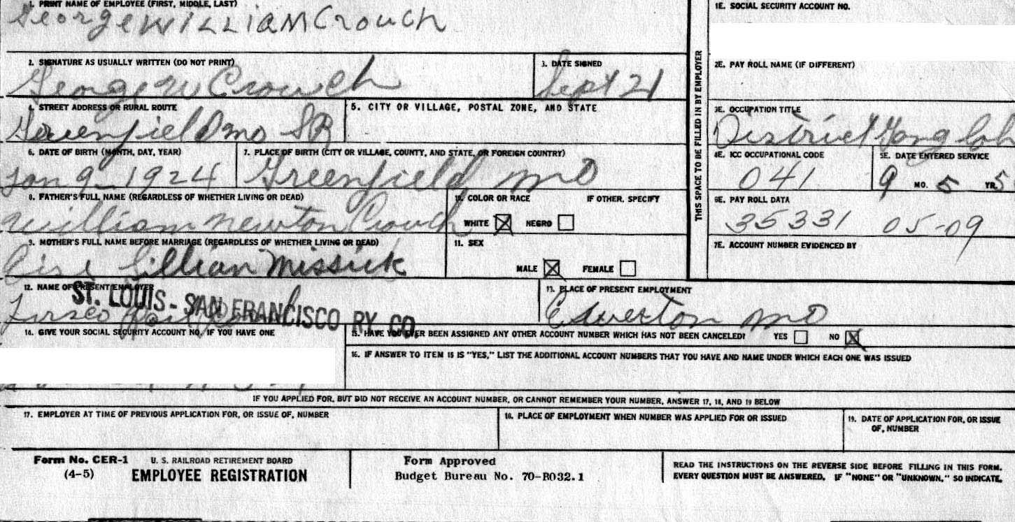 George Crouchs Railroad Application