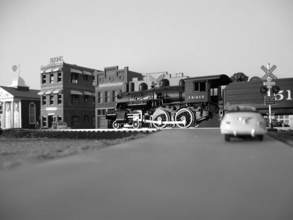 Here are a few black and white shots of my Salem Branch layout showing the Steelville section.  They were taken by my good friend and a person whom I