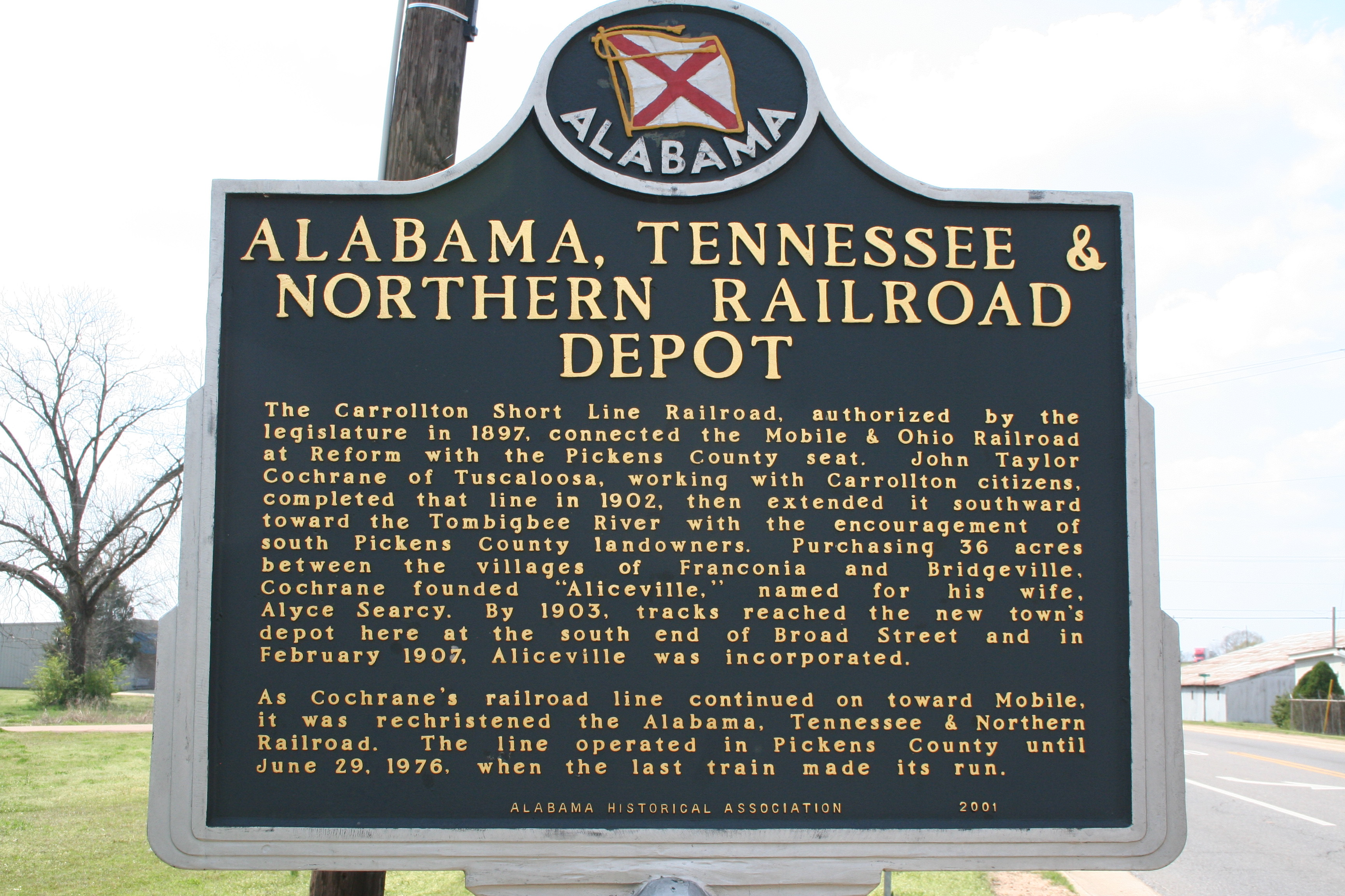 Historical marker in Aliceville, AL