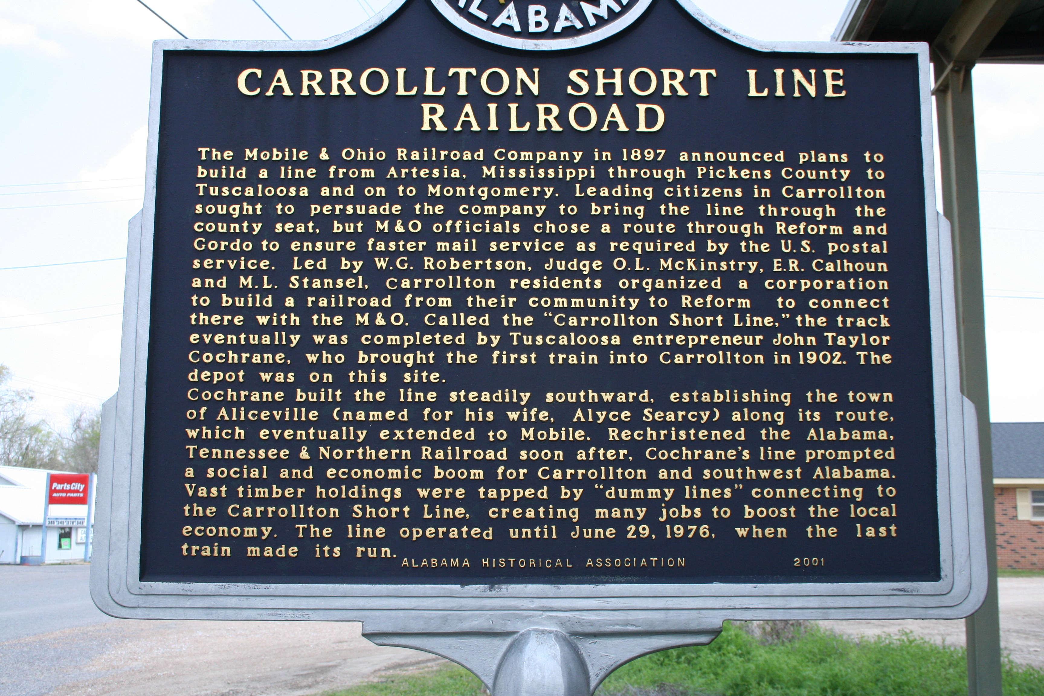 Historical marker in Carrollton, AL