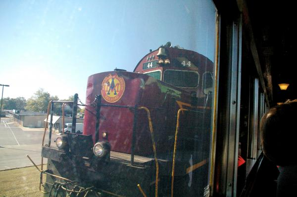 In Van Buren, the A&M shift the caboose and locomotive from end to end before backing into Van Buren depot.