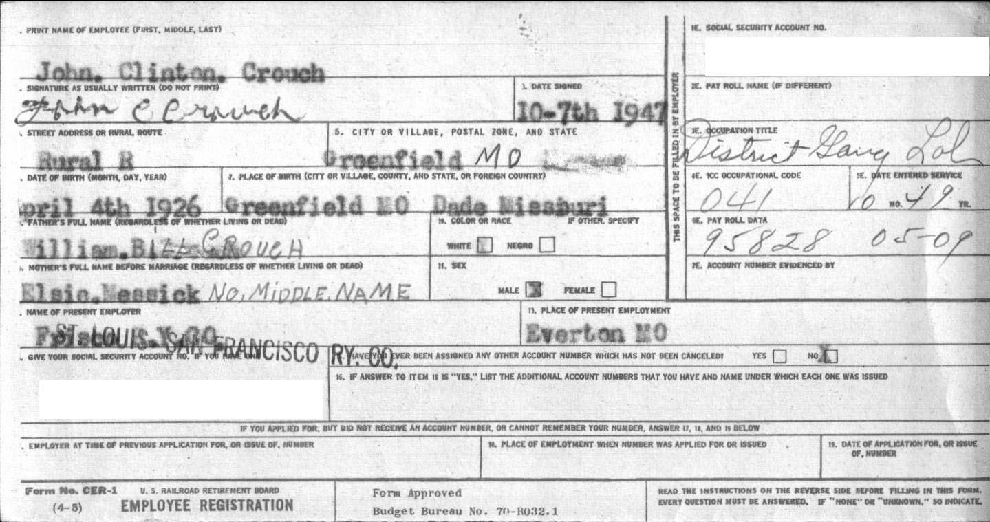 John C. Crouch Railroad  Application