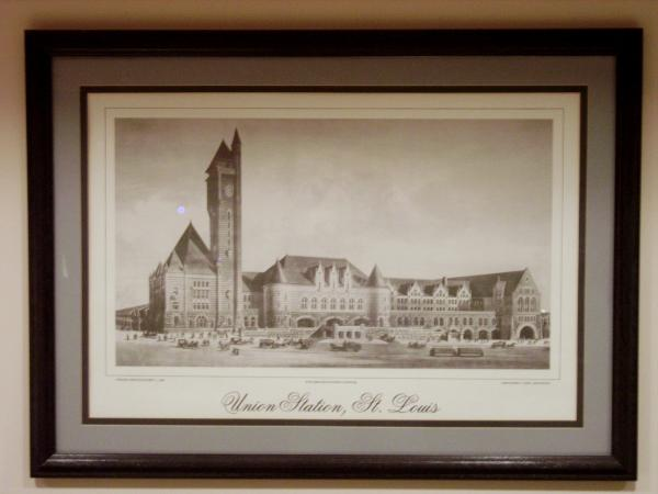 Lithograph of the original architect's rendering of St. Louis Union Station.