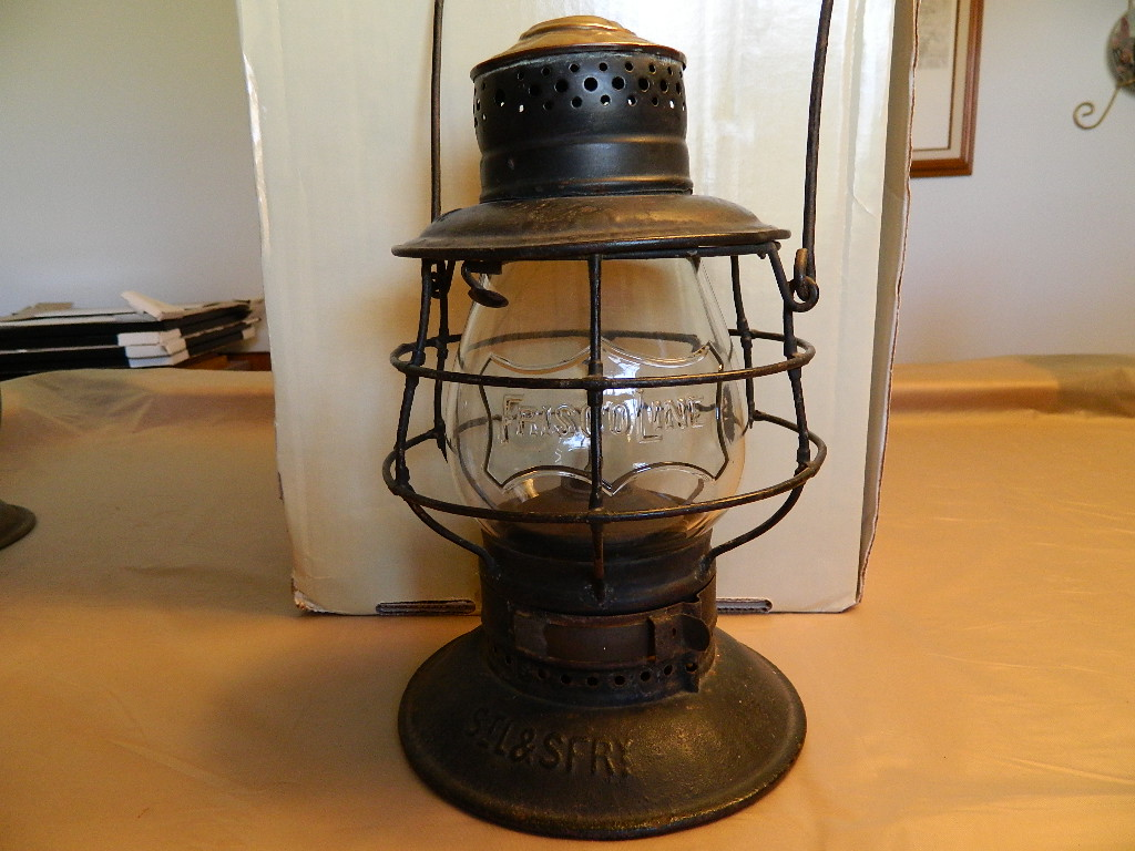 "StL.& S.F.RY. lantern with clear ""FRISCO LINE"" embossed Globe.